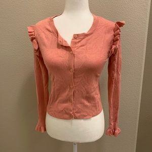 Zara Knit Coral Pink Ruffled Sleeves Cardigan